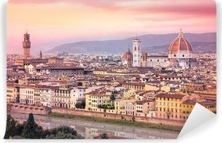 Vinyl Fotobehang Toneel mening van Florence bij zonsondergang in dromerige gefilterd stijl