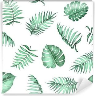 Vinyl Fotobehang Topical palmbladeren op naadloze patroon voor stof textuur. Vector illustratie.