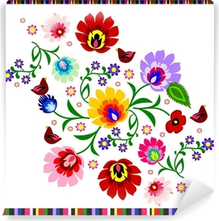 Vinyl Fotobehang Traditionele Poolse floral folk patroon vector