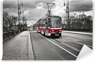 Vinyl Fotobehang Tram in de stad Praag
