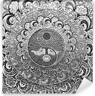 Vinyl Fotobehang Tree of Life Silver Mandala