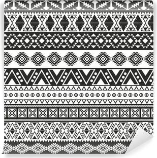 Vinyl Fotobehang Tribal naadloze patroon - aztec zwarte en witte achtergrond