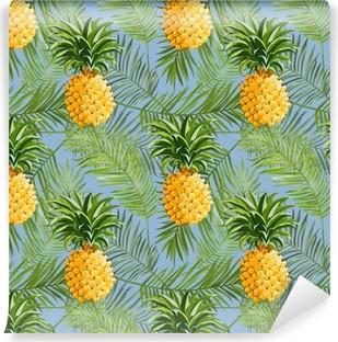Vinyl Fotobehang Tropische palmbladeren en Ananas Achtergrond