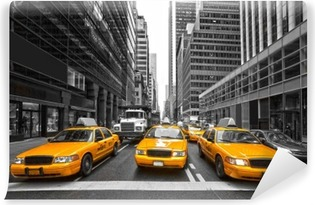 Vinyl Fotobehang TYellow taxi's in New York City, Verenigde Staten.