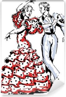 Vinyl Fotobehang Typisch Spaanse flamenco vector illustratie
