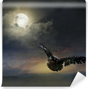 Vinyl Fotobehang Uil in de nachtelijke hemel.