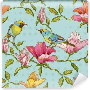Vinyl Fotobehang Uitstekende Naadloze Achtergrond - Bloemen en Vogels