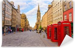 Vinyl Fotobehang Uitzicht op straat van Edinburgh, Schotland, Groot-Brittannië