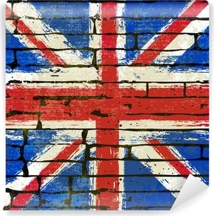 Vinyl Fotobehang Union Jack op een bakstenen muur achtergrond