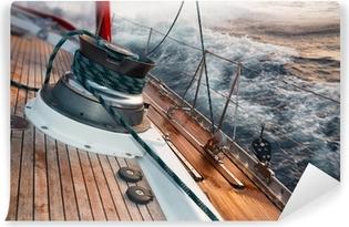 Vinyl Fotobehang Varen boot onder de storm, detail op de lier