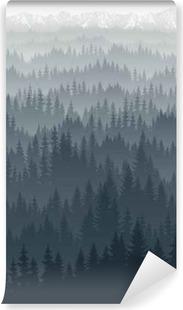 Vinyl Fotobehang Vector bergen bos met mist achtergrond textuur naadloze patroon