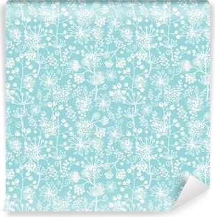 Vinyl Fotobehang Vector blauwe en witte kant tuinplanten naadloos patroon