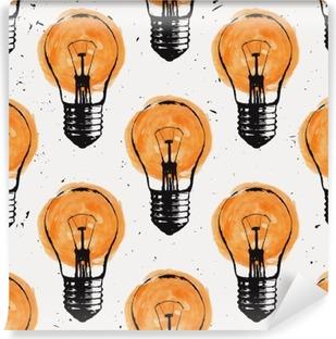 Vinyl Fotobehang Vector grunge naadloze patroon met gloeilampen. Modern hipster schets stijl. Idee en creatief denken concept.