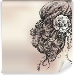 Vinyl Fotobehang Vector tekening van een mooi meisje, bruidskapsel