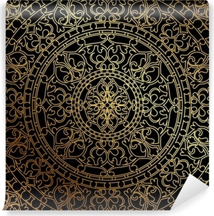 Vinyl Fotobehang Vector zwarte achtergrond met gouden oosters ornament