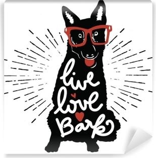 Vinyl Fotobehang Vectorillustratie vintage typografie poster met stijlvolle hond in zonnebril.