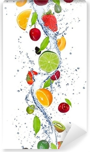 Vinyl Fotobehang Verse vruchten vallen in het water splash