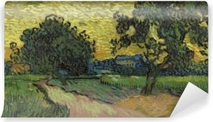 Vinyl Fotobehang Vincent van Gogh - Landschap met het kasteel van Auvers bij zonsondergang
