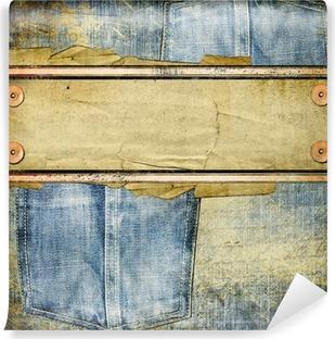 Vinyl Fotobehang Vintage jeans achtergrond met plaats voor tekst