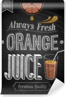 Vinyl Fotobehang Vintage Orange Juice - Schoolbord. Vector illustratie.