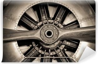 Vinyl Fotobehang Vintage propellervliegtuigen motor closeup