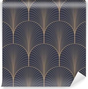 Vinyl Fotobehang Vintage tan blauw en bruin naadloze art deco achtergrond patroon vector