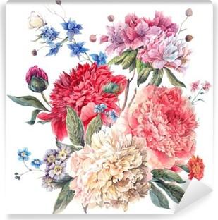Vinyl Fotobehang Vintage Wenskaart Bloemen met Blooming Pioenen