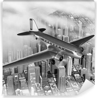 Vinyl Fotobehang Vliegtuig over de stad