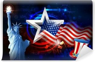Vinyl Fotobehang Vrijheidsbeeld met Amerikaanse Vlag