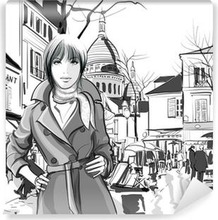Vinyl Fotobehang Vrouw in Montmartre plein