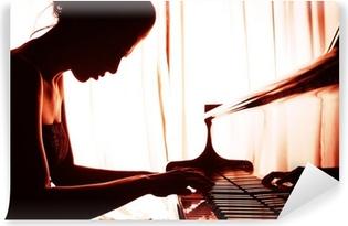 Vinyl Fotobehang Vrouw spelen piano