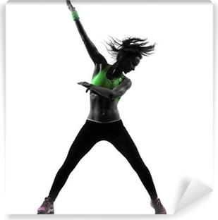 Vinyl Fotobehang Vrouw uitoefening fitness zumba dansen silhouet