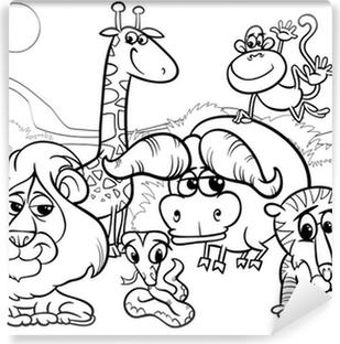 Kleurplaten Dieren In Het Wild.Sticker Wilde Dieren Cartoon Kleurplaat Pixers We Leven Om Te