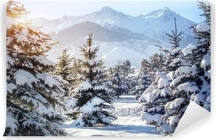 Vinyl Fotobehang Winterlandschap in de bergen