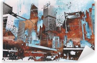 Vinyl Fotobehang Wolkenkrabber met abstract grunge, illustratie painting