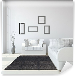 Fotobehang Wit modern klassiek woonkamer, rode bank, houten vloer ...