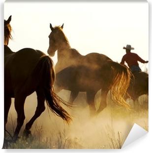 Vinyl Fotobehang Wrangler hoeden wilde paarden