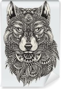 Vinyl Fotobehang Zeer gedetailleerde abstracte wolf illustratie