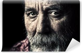 Vinyl Fotobehang Zeer oude dakloze senior man portret