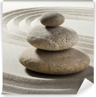 Vinyl Fotobehang Zen tuin met zand en kiezels
