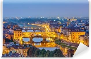 Vinyl Fotobehang Zicht op de rivier de Arno in Florence