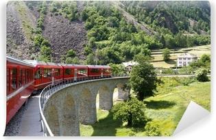 Vinyl Fotobehang Zwitserse berg trein Bernina Express
