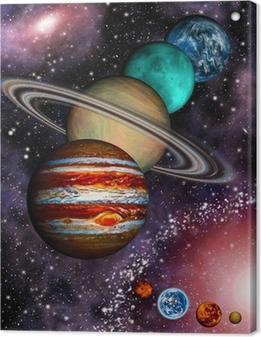 9 planeter af solsystemet, asteroidebånd og spiralgalakse. Fotolærred