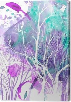 Abstrakt silhuet af træer Fotolærred