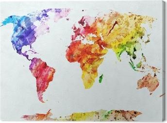 Akvarel verdenskort Fotolærred