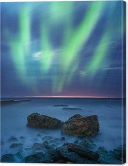 Aurora borealis over havet Fotolærred