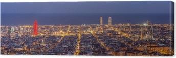 Barcelona skyline panorama om natten Fotolærred