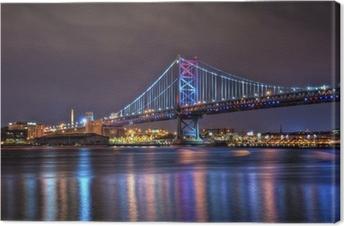 Benjamin Franklin Bridge at Night Fotolærred