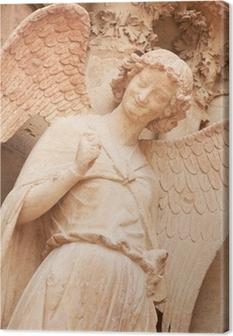 Berømte smilende engel på facaden af Reims Cathedral Fotolærred