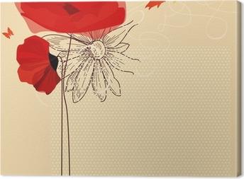 Blomster invitation, valmuer og sommerfugl vektor Fotolærred